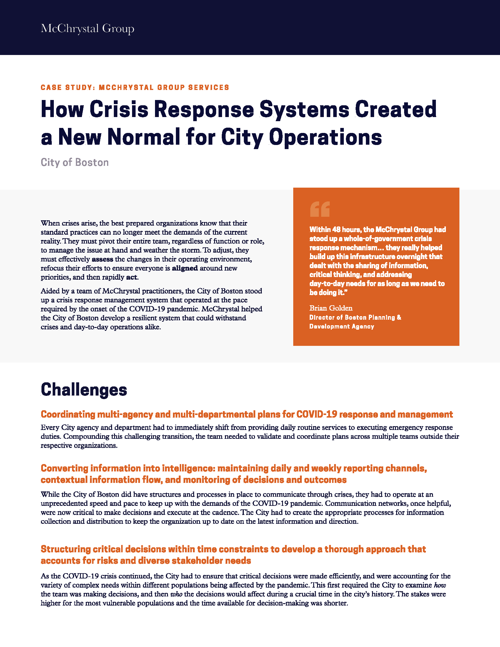 Preview of McChrystal Case Study: How Crisis Response Systems Created a New Normal for City Operations