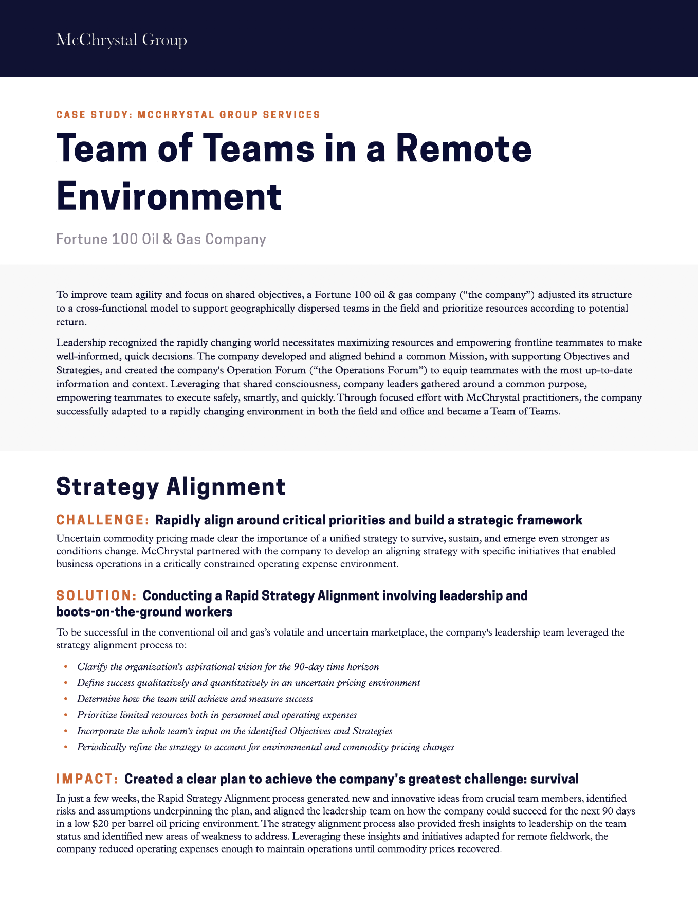 Preview of McChrystal Case Study: Team of Teams in a Remote Environment